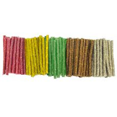 Tyčinky pro psy z hovězí kůže, barevné - 100 ks