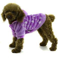 Kabátek pro psa - fialový s kapucí, S