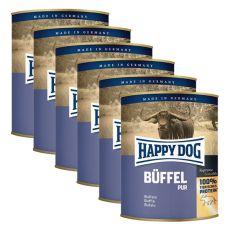 Happy Dog Pur - Büffel/buvolí maso, 6 x 800 g, 5+1 GRATIS