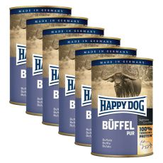 Happy Dog Pur - Büffel/buvolí maso, 6 x 400 g, 5+1 GRATIS