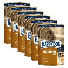 Happy Dog Pur - Truthahn/krůta, 6 x 400g, 5+1 GRATIS