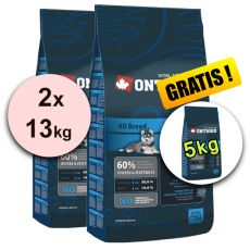 Ontario Puppy All 2 x 13 kg + 5 kg GRATIS