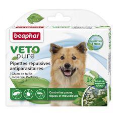 Kapky proti hmyzu pro střední psy, přírodní - 3 ks