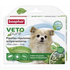 Kapky proti hmyzu pro malé psy, přírodní - 3 ks