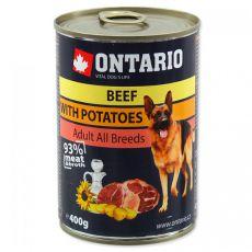 Konzerva ONTARIO pro psa, hovězí, brambory a olej - 400 g