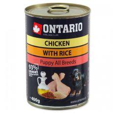 Konzerva ONTARIO Puppy pro psa, kuřecí, rýže a olej - 400 g