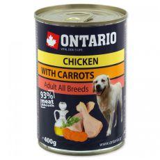 Konzerva ONTARIO pro psa, kuřecí, mrkev a olej - 400 g