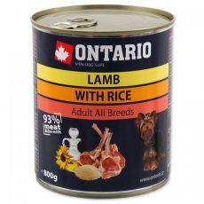 Konzerva ONTARIO pro psa, jehněčí, rýže a olej - 800 g