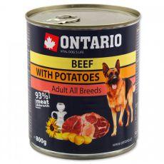 Konzerva ONTARIO pro psa, hovězí, brambory a olej - 800 g