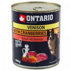 Konzerva ONTARIO pro psa, zvěřina, brusinky a olej - 800 g