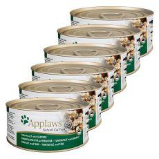 Applaws Cat - konzerva pro kočky s tuňákem a mořskými řasami, 6 x 70 g