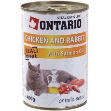 ONTARIO Konzerva pro kočku - kuřecí, králičí a olej - 400 g
