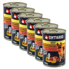 Konzerva ONTARIO pro psa, hovězí, brambory a olej - 6x400 g