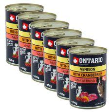 Konzerva ONTARIO pro psa, zvěřina, brusinky a olej - 400 g