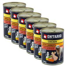 Konzerva ONTARIO pro psa, kuřecí, mrkev a olej - 6x400 g