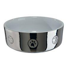Keramická miska pro psy, stříbrná - 0,3 l