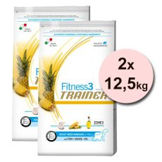 Trainer Fitnes3 Adult MEDIUM & MAXI - ryba a kukuřice 2 x 12,5 kg