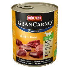 Konzerva GranCarno Fleisch Adult hovězí + krůta - 800 g