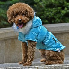 Bunda pro psa s imitací kapes na zip - modrá, XS