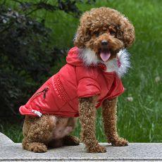 Bunda pro psa s imitací kapes na zip - červená, XS