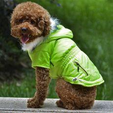 Bunda pro psa s imitací kapes na zip - neonově zelená, M