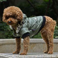 Bunda pro psa s kožešinkou - zelená, XL