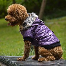 Bunda pro psa s kožešinkou - fialová, XS
