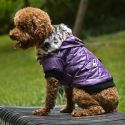Bunda pro psa s kožešinkou - fialová, L