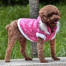 Bunda pro psa s odepínatelnou kapucí - růžová, S