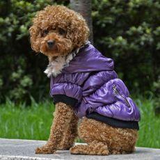 Bunda pro psa s černým lemováním - fialová, XL