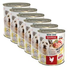 New BEWI DOG konzerva – Chicken - 6 x 800 g, 5+1 GRATIS