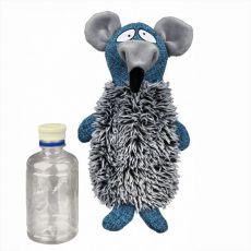 Hračka - myš s plastovou láhví - plyšová, 21 cm
