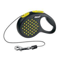 Flexi vodítko XS do 8 kg, 3m lanko - žluté puntíky