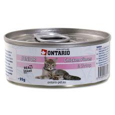 ONTARIO Junior Konzerva - kuřecí kousky a krevety - 95 g