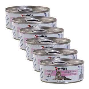 ONTARIO Junior Konzerva - kuřecí kousky a krevety - 6 x 95 g