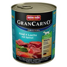 Konzerva GranCarno Original Adult hovězí a losos + špenát - 800 g