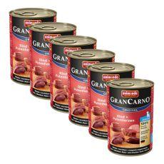 Konzerva GranCarno Original Junior hovězí maso a krůtí srdce - 6 x 400 g