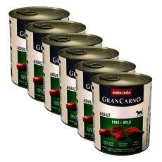 Konzerva GranCarno Original Adult hovězí maso a zvěřina - 6 x 800 g