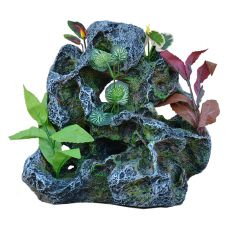 Dekorace do akvária 2159 - Skála s umělými rostlinami