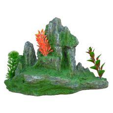 Dekorace do akvária 2171 - Zelená skála s rostlinami