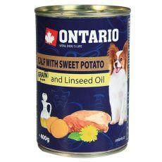 Konzerva ONTARIO Telecí se sladkým bramborem a lněným olejem – 400 g