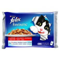 Kapsičky FELIX Fantastic - hovězí a kuřecí v želé, 400 g