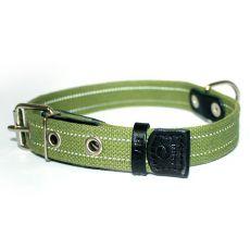 Bavlněný reflexní obojek – 51–63 cm, 35 mm – zelený