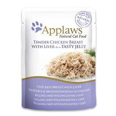 Kapsička APPLAWS Cat Pouch,  kuře a játra v želé 70 g