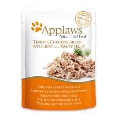 Kapsička APPLAWS Cat Pouch,  kuře a hovězí maso v želé 70 g