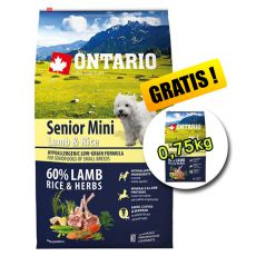 ONTARIO Senior Mini Lamb & Rice 6,5kg + 0,75kg
