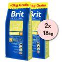 Brit Premium Junior Medium 2 x 15kg + 6kg GRATIS