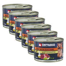 Konzerva ONTARIO Hovězí s cuketou a lněným olejem, 6 x 200g
