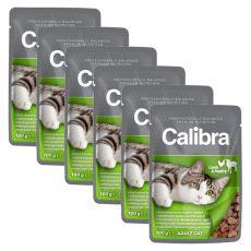 CALIBRA Cat Adult jehněčí a drůbeží kousky v omáčce 6 x 100g