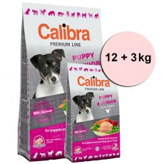 CALIBRA Dog Premium Line PUPPY & JUNIOR 12 + 3 kg
